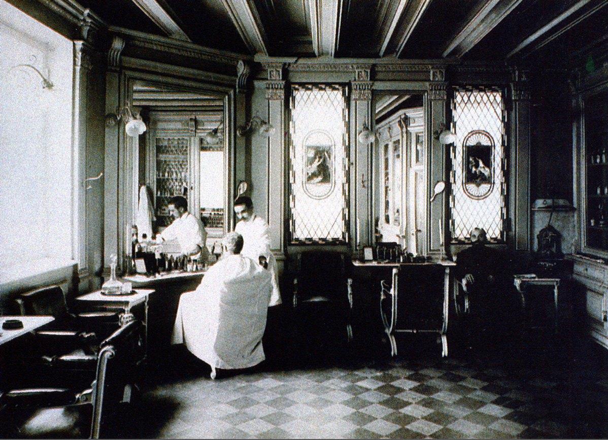 1900-е. Мужская парикмахерская Дворянского отделения Китайских бань во владении Хлудовых