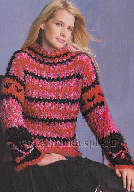 пуловер из меланжевого мохера