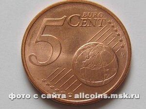 Монета 5 евро центов Германия