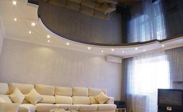Затем необходимо определиться с местом расположения освещения.  В полотне...  Схема монтажа натяжных потолков.