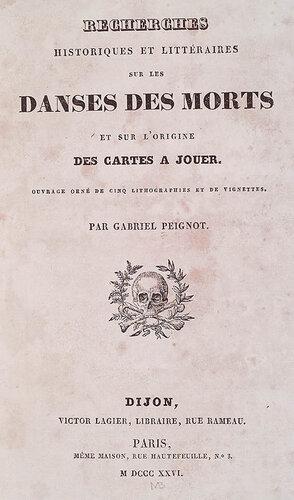 Литературные и исторические танцы мертвых. Gabriel Peignot. Recherces Historiques et Littéraires sur les Danses des Morts. n.c. : n.p., 1826. Page 1.