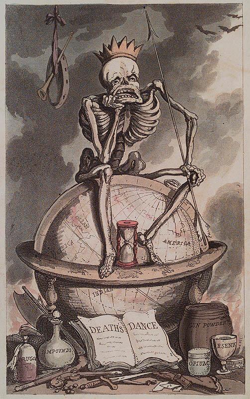 Смерть сидит на вершине мира со своим оборудованием на ногах: наркотики, соединения, порох, опий, мышьяк, ртуть. Thomas Rowlandson. The English Dance of Death. London : R. Ackermann, 1815. Page 0.1, Plate frontispiece.