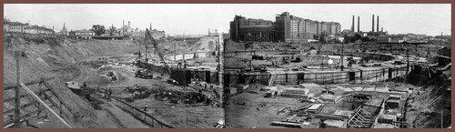 На строительной площадке Дворца Советов