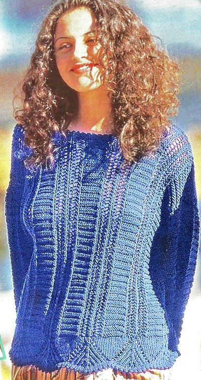 пуловер ажурный спицами