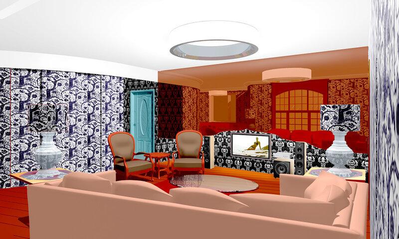 Вар 3 Интерьер гостиной в двухкомнатной квартире. Размещение домашнего кинотеатра в комнате, расстановка мягкой мебели. Столетова 04 s01. Проект реконструкции квартиры.