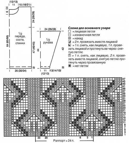 Схема и выкройка пуловера узор листочки