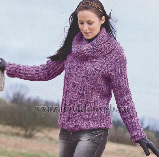 пуловер с большим воротом бесплатные схемы