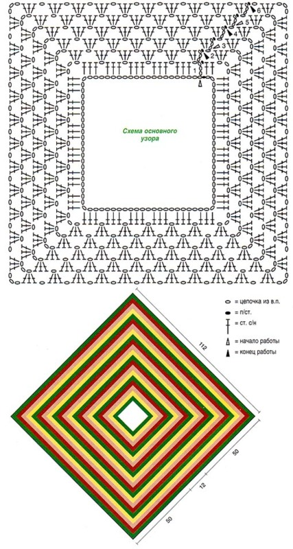 пончо крючком бесплатная схема вязания