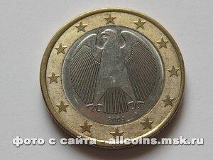 Монета 1 евро Германия