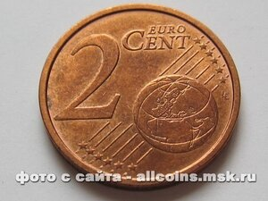 Монета 2 евро цента Германия