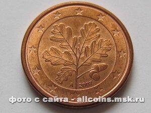 Монета 1 евро цент Германия