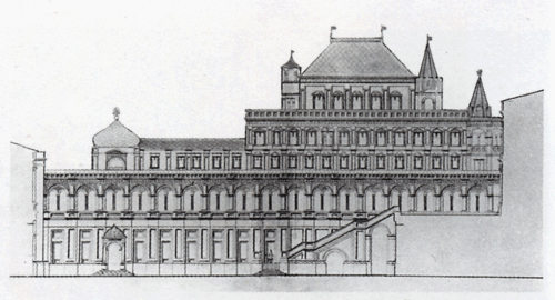 Москва. Проект фасада Теремного дворца, новой галереи и лестницы. Не ранее 1840 г. РГИА