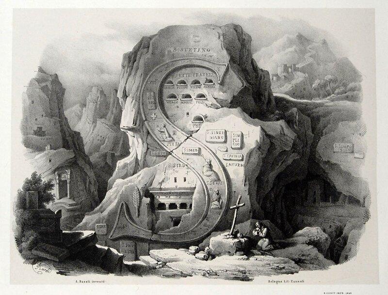 Алфавит Antonio Basoli 'Alfabeto Pittorico',1839,25 букв