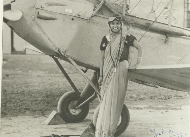 Sarla Thakral, 21 years old, the first Indian woman to earn a pilot license. 1936.jpg