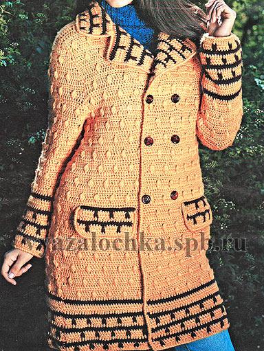 пальто крючком бесплатные схемы вязания
