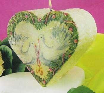 свеча в форме сердечка с декупажем своими руками