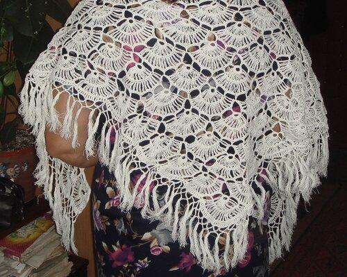 Вязание крючком Ажурная шаль Ракушки.