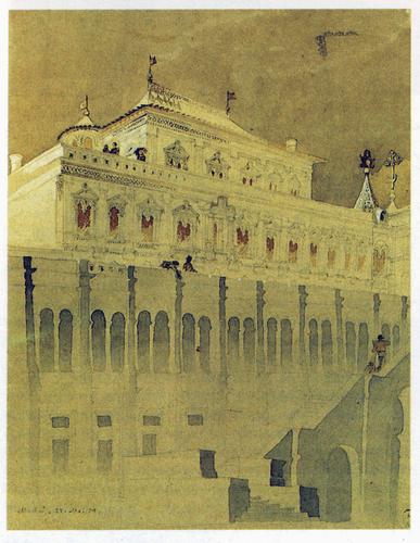 Москва. Теремной дворец. Акварель Д. И. Гришина. 1850 г. НИМАХ
