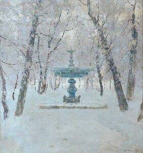 Фонтан у зимовому парку