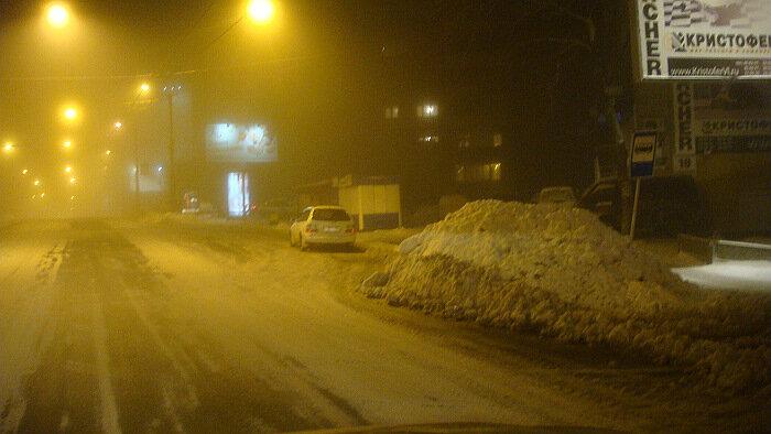 Владивосток,ночь,снег,улицы