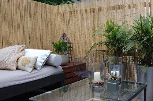 патио бамбук декоративная ширма на даче в саду