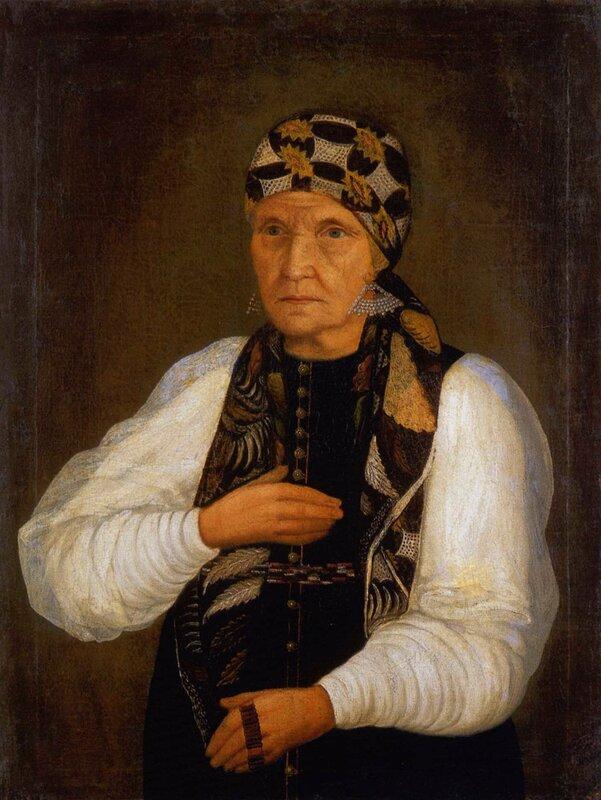 Неизв. художник. Портрет Н.Сосуновой, жены зимогорского ямщика.1840-е гг.