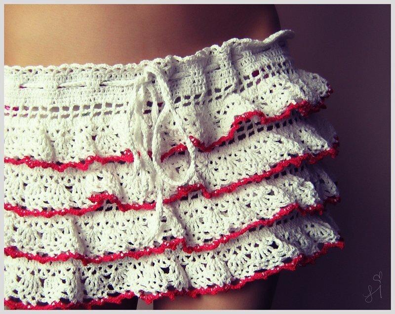 Описание: пляжная юбка.  Вязание крючком, схема.