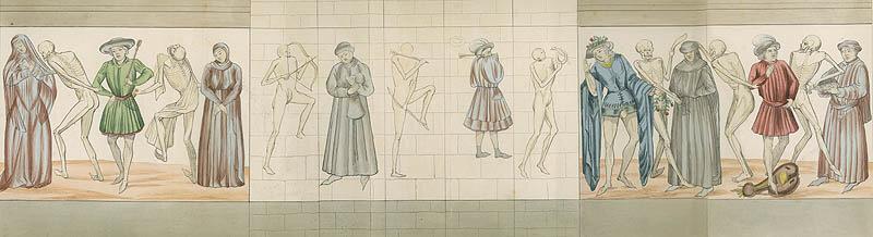 Achille Jubinal. Explication de la Danse des Morts de la Chaise-Dieu. Paris : Challamel, 1841, Plate foldout 2.