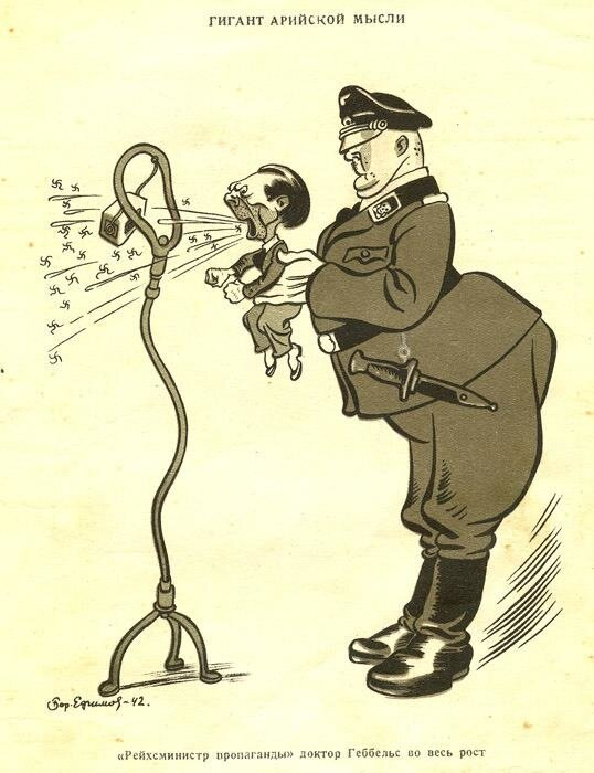 """Карикатуры Бориса Серимова """"Гитлер и его свора"""".1943 года"""
