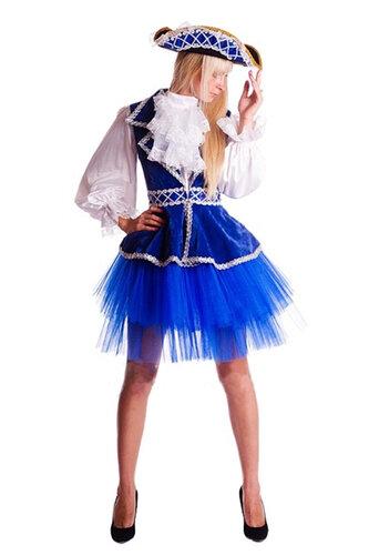 Женский карнавальный костюм Пиратка в синем
