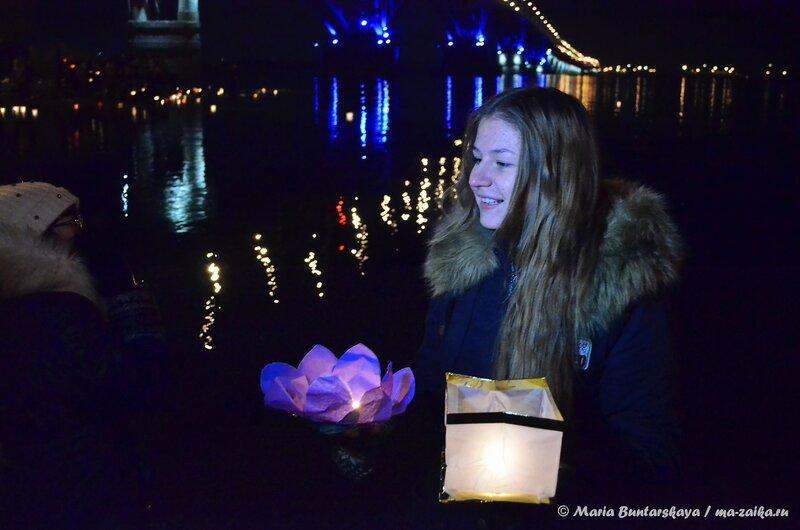 Водные фонарики, Саратов, Набережная Космонавтов, 04 ноября 2014 года