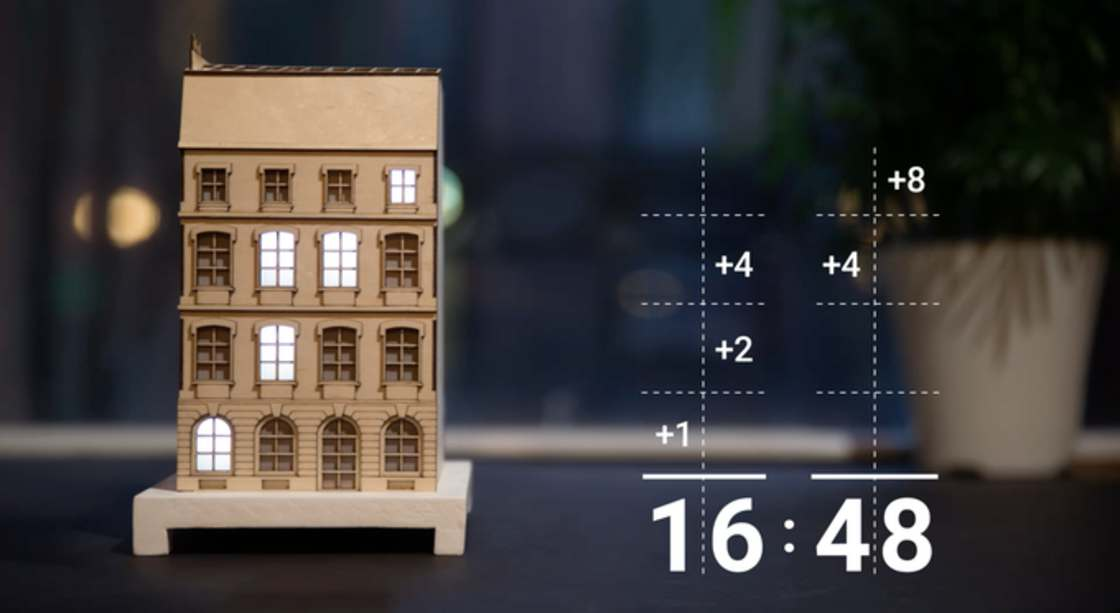 The City Clock - This pretty wooden house is a binary clock!