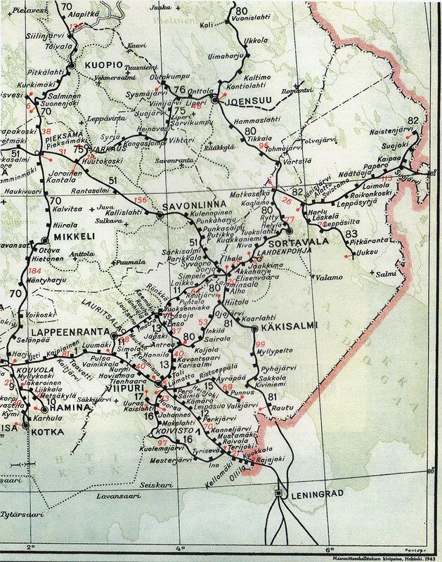 Схема железных дорог Финляндии