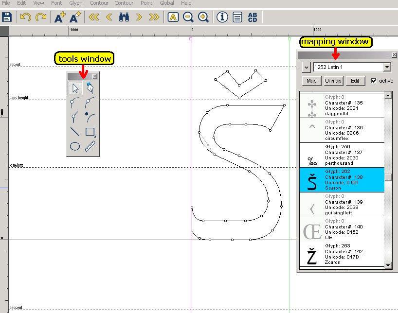 интерфейс редактора шрифтов type light