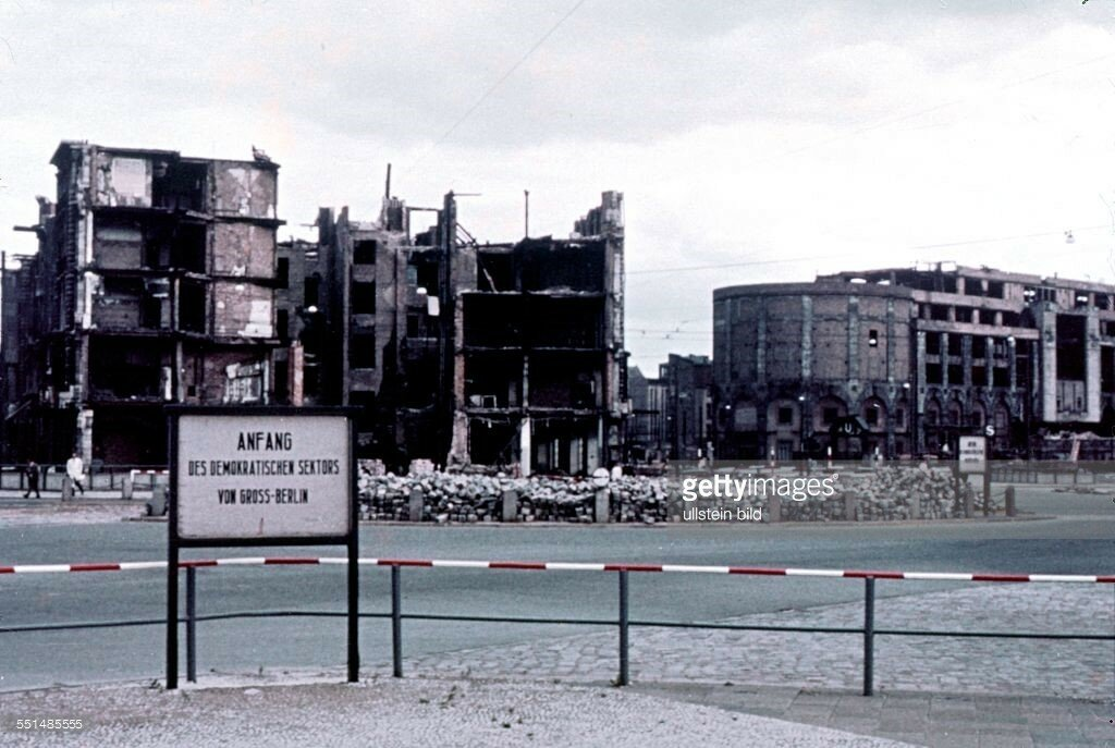 1954 Berlin East, sector border at Potsdamer Platz with sign post.jpg