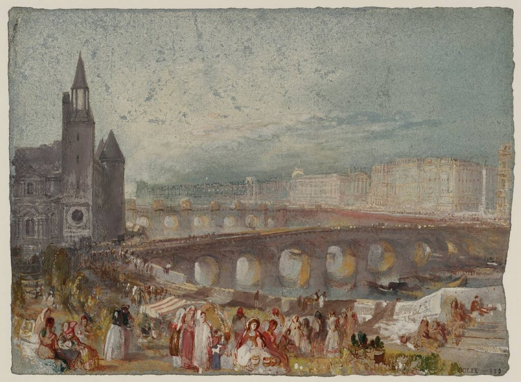 Paris: The MarchГ© aux Fleurs and the Pont au Change circa 1833 by Joseph Mallord William Turner 1775-1851