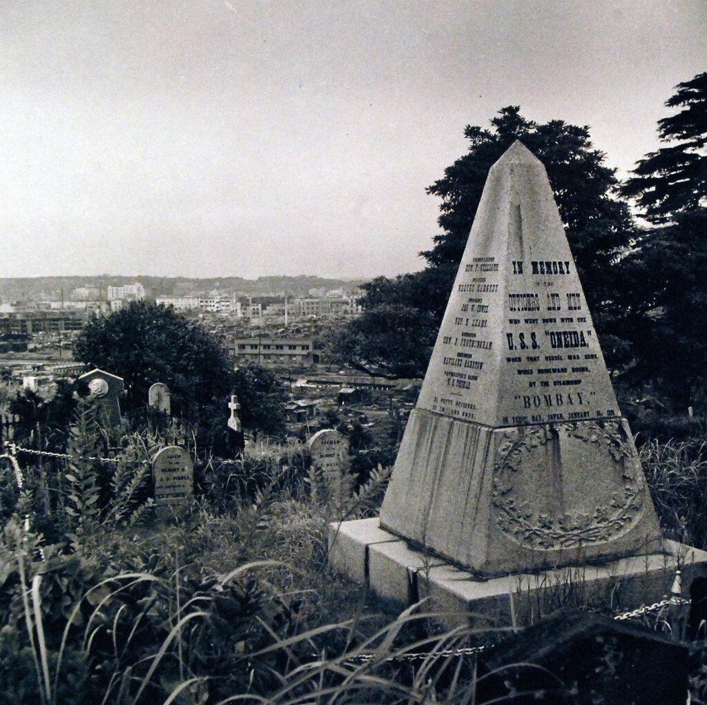 Yokohama. Monument to the deceased members of the crew of USS Oneida when she collided with a British steamer, Bombay on January 24, 1870. 125 men were lost. Sept 1945