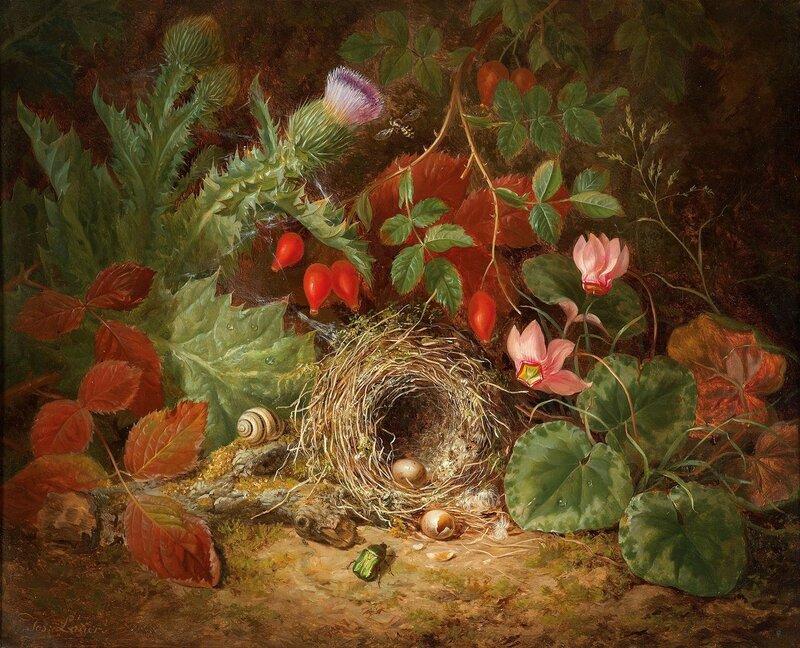 Натюрморт с птичьим гнездом, цикломеном, репейником и шиповником