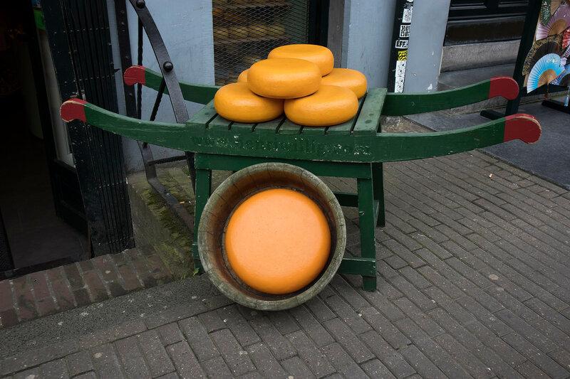 Dutch cheese on a street market in Alkmaar. Netherlands