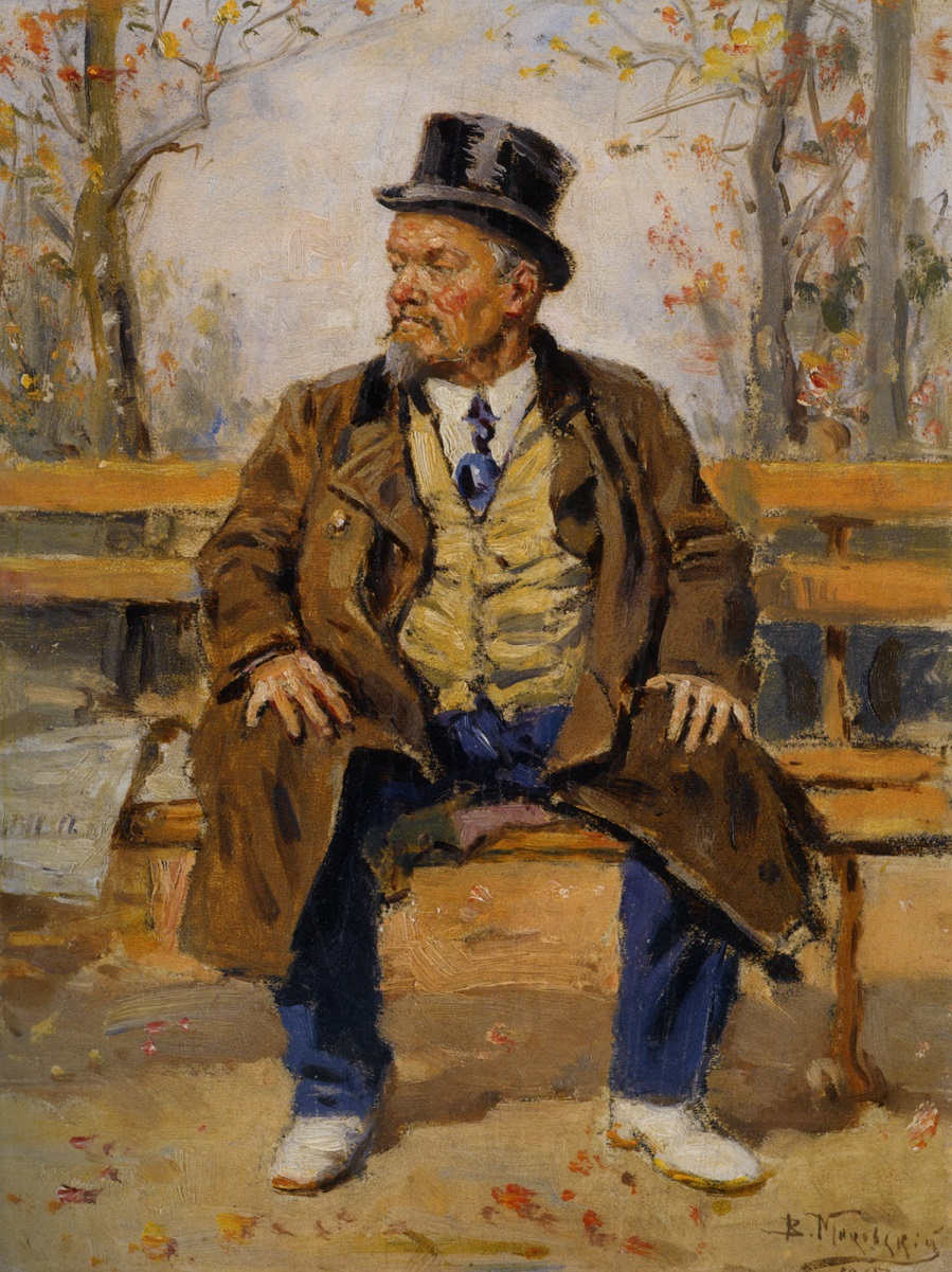 PORTRAIT OF A MAN SITTING ON A PARK BENCH , 1917.