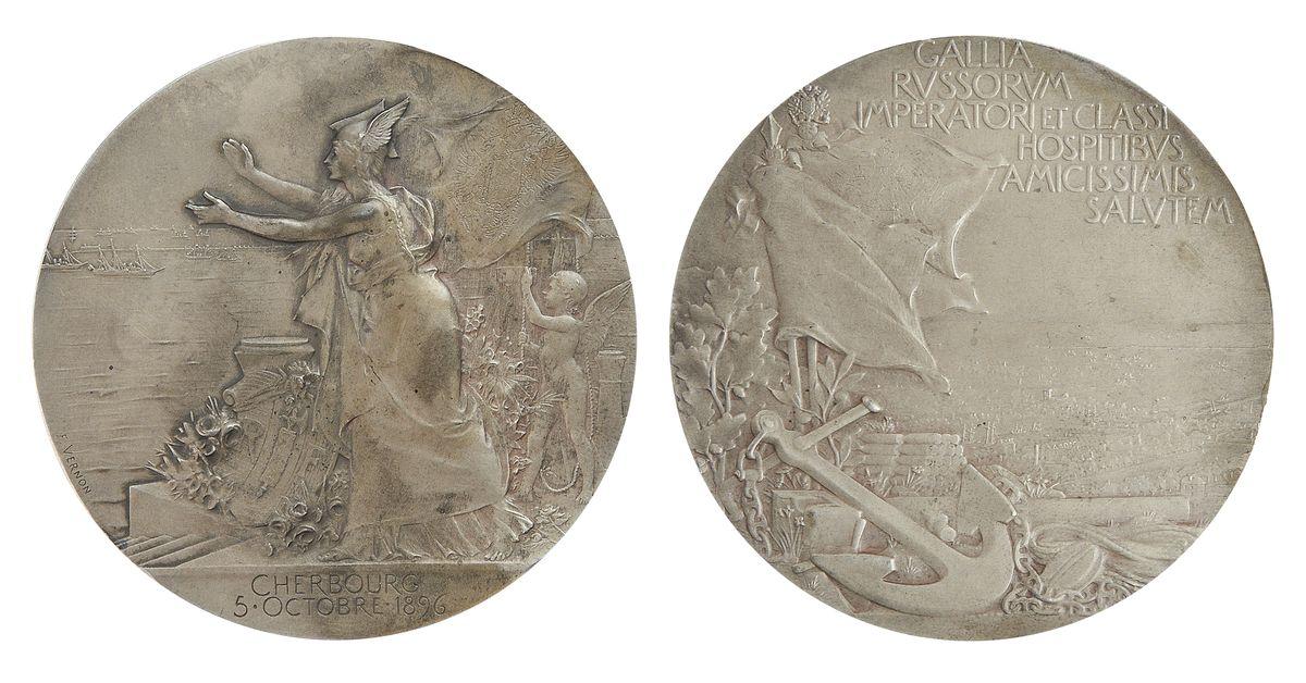 Настольная медаль «В память визита русской эскадры во Францию. 5 октября 1896 г.»