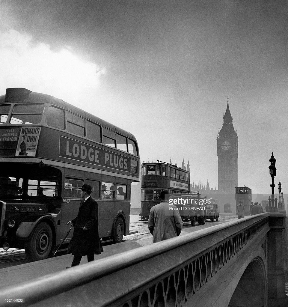 1950. Двухэтажный автобус и Биг Бен. Лондон
