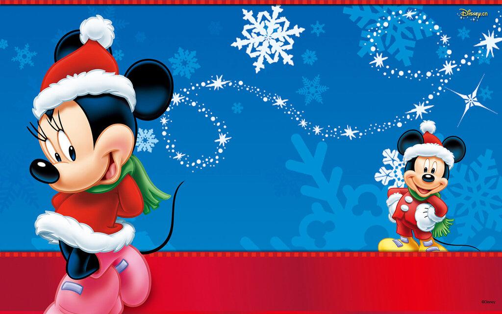 Disney Микки Маус : в новогодней шапке - Мультики Обои и Фото.
