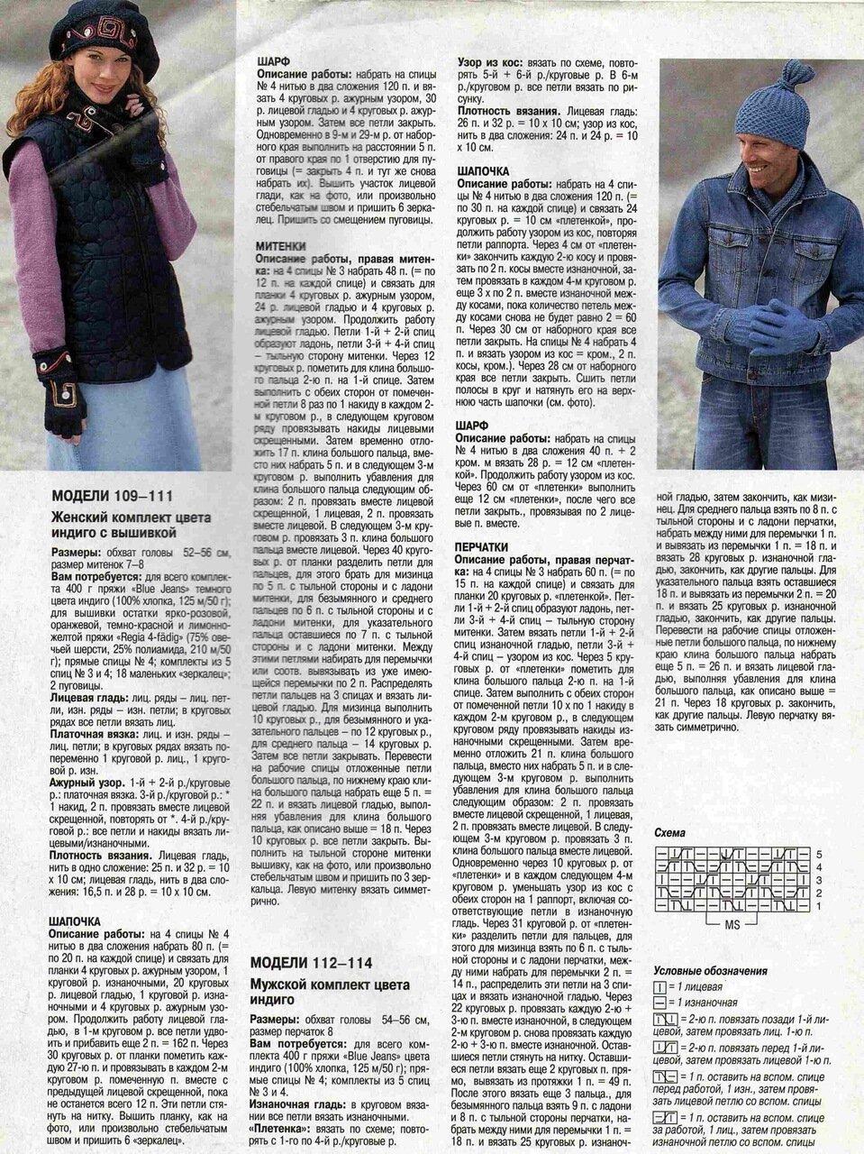 описание вязания женских, мужских аксессуаров для джинсового стиля