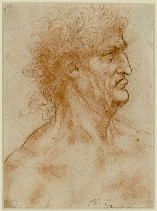 Leonardo Da Vinci Testa virile di profilo incoronata di alloro (1506 - 1508 ca)