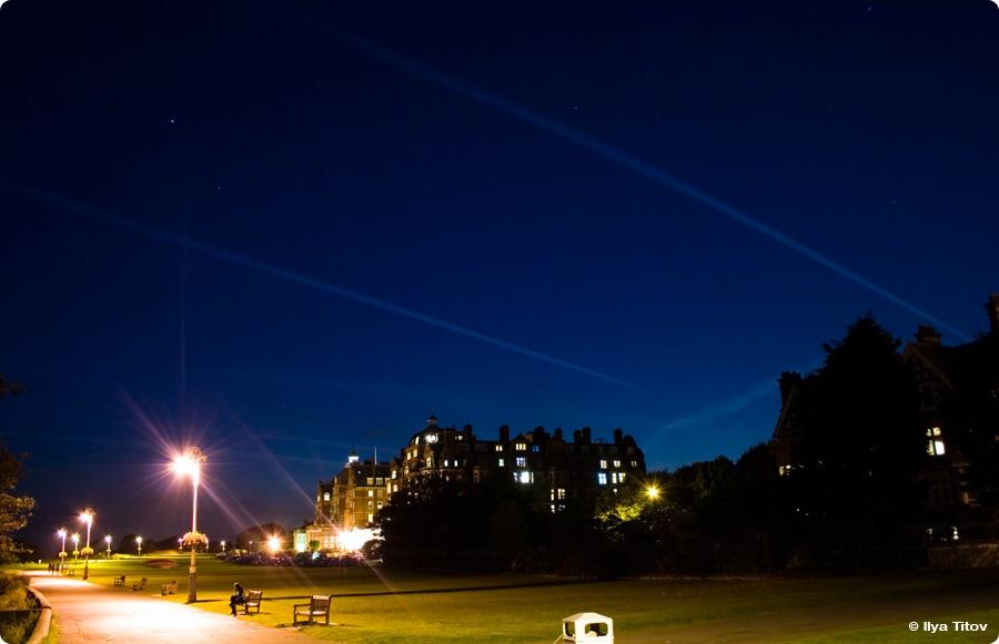 Folkestone promenade at night