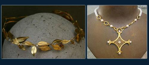 1.Корона для Равенны из 22х-каратного золота и бриллиантов. 2.Колье для королевы Равенны золото 22-карата, жемчуг и бриллиант.
