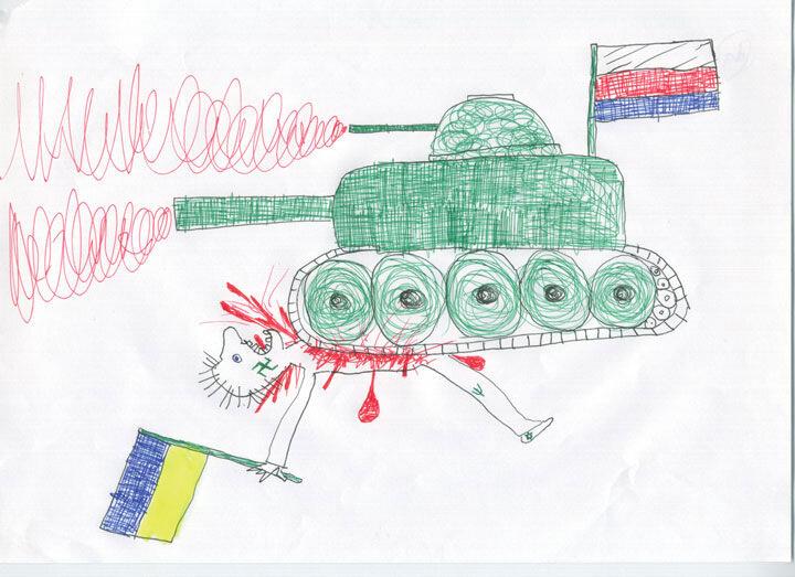 дети рисунок война танк