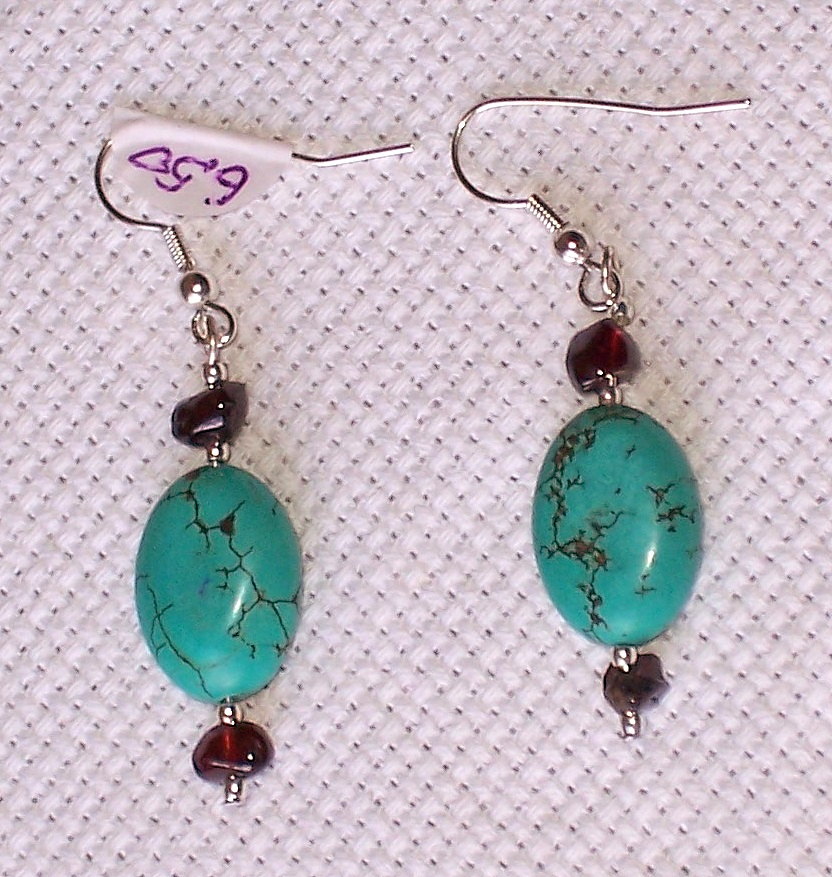 garnet,howlite,turquoise,earrings,gift,semiprecious stones