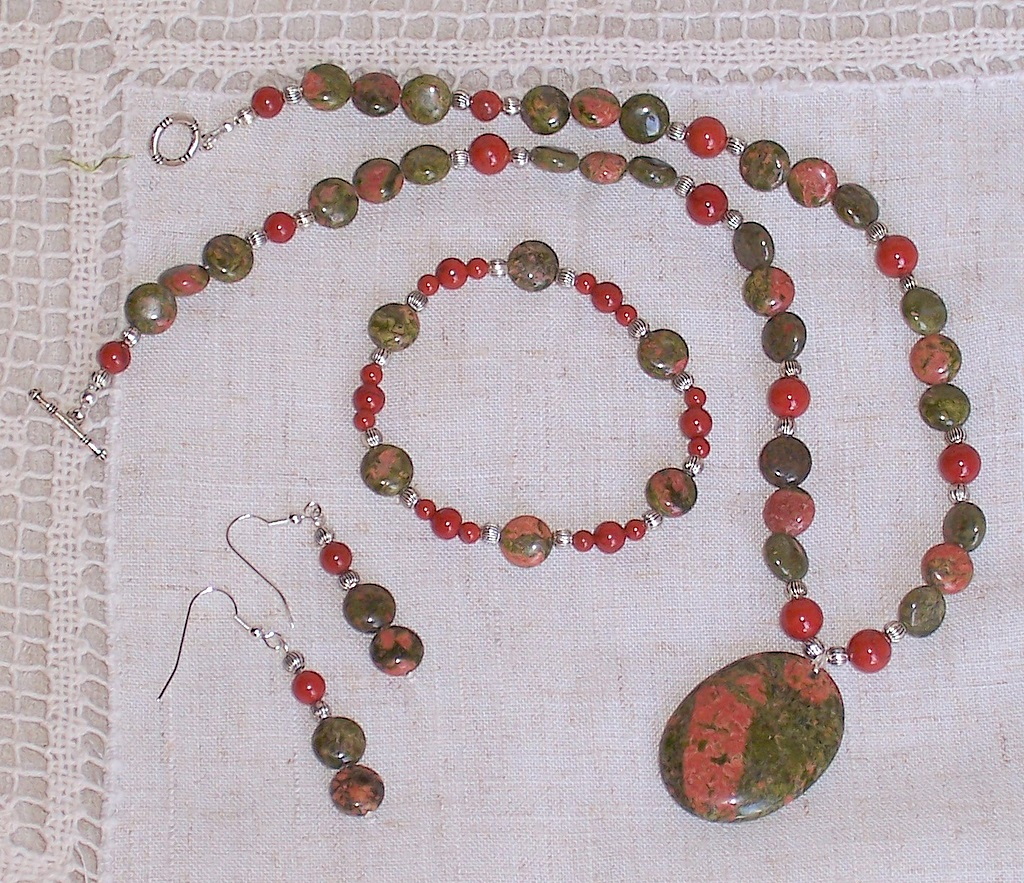 red jasper,unakite,necklace